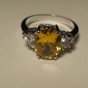 Sterling Silver Canary Yellow Ice Ring